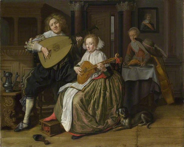 A Young Man playing a Theorbo and a Young Woman playing a Cittern  Jan Miense…