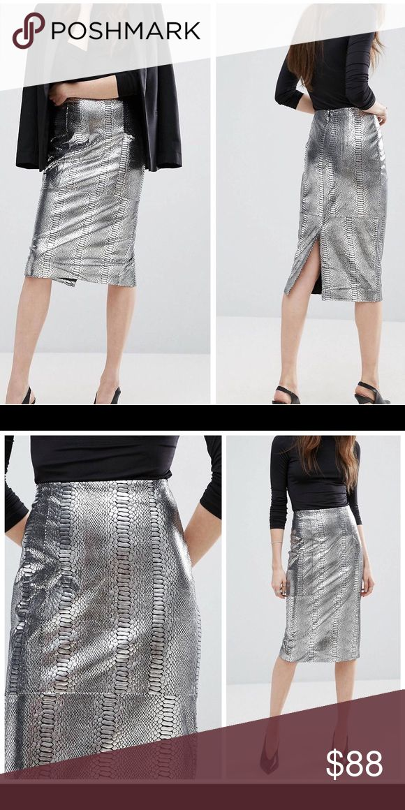 NWT ASOS silver snake print midi pencil skirt NWT. Bundle for a private offer! Pencil skirt by ASOS Collection Stretch woven fabric Snake-effect metallic finish High-rise waist Zip-back fastening Kick split Slim fit - cut close to the body Hand wash 89% Polyester, 11% Elastane ASOS Skirts Pencil