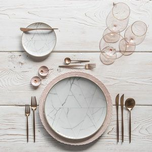 RENT: Lace Chargers in Blush   Carrara Dinnerware   Moon Flatware in Brushed Rose Gold   Bella 24k Gold Rimmed Stemware in Blush   Pink Enamel Salt Cellars   Tiny Copper Spoons  SHOP: