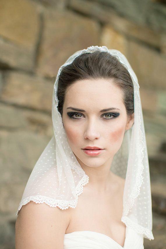 Dotted Lace Veil, Mantilla Veil, Wedding Veil, Shoulder Length Veil, Swiss Dot Veil - Noemi MADE TO ORDER   $180