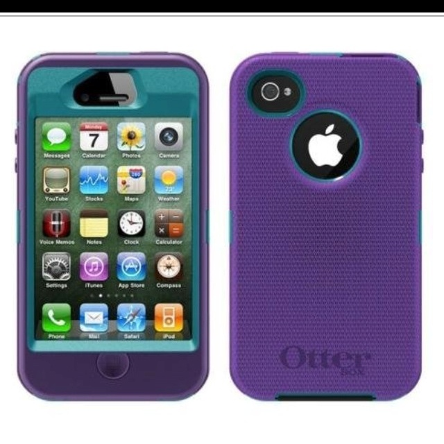 My New IPhone 4s Otter Box Case Purple And Teal Love It