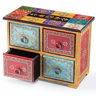 Hand painted indian wooden chest with 4 drawers