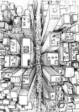 Feels like your in a helicopter looking down on the city and your location in the sky can be determined by the perspective work done on the buildings