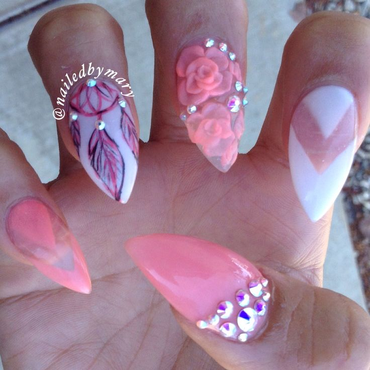 Dream Catcher Negative E Nail Art Roses Stiletto Peachy Acrylic Nails