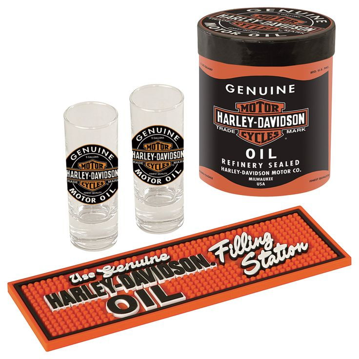 The Perfect gift for the Harley enthusias! The Harley-Davidson Oil Can Shot Glass Gift Set includes twin hand-blown shot glasses and a mini bar mat