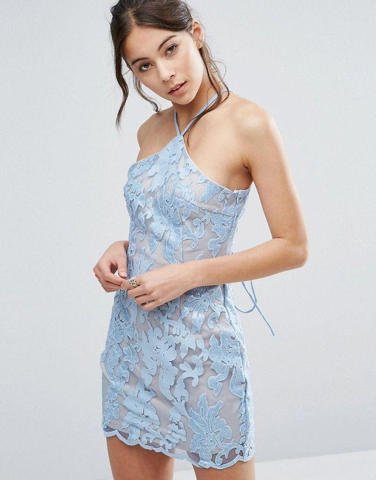 love triangle - neckholder-minikleid aus spitze - blau