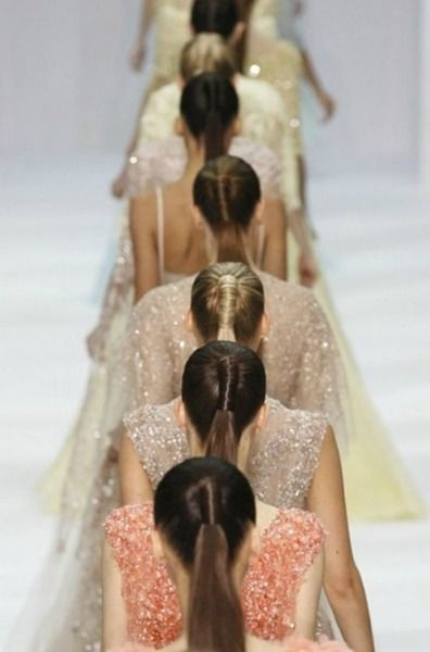 Elie Saab - same hair styles in a row on the Runway.