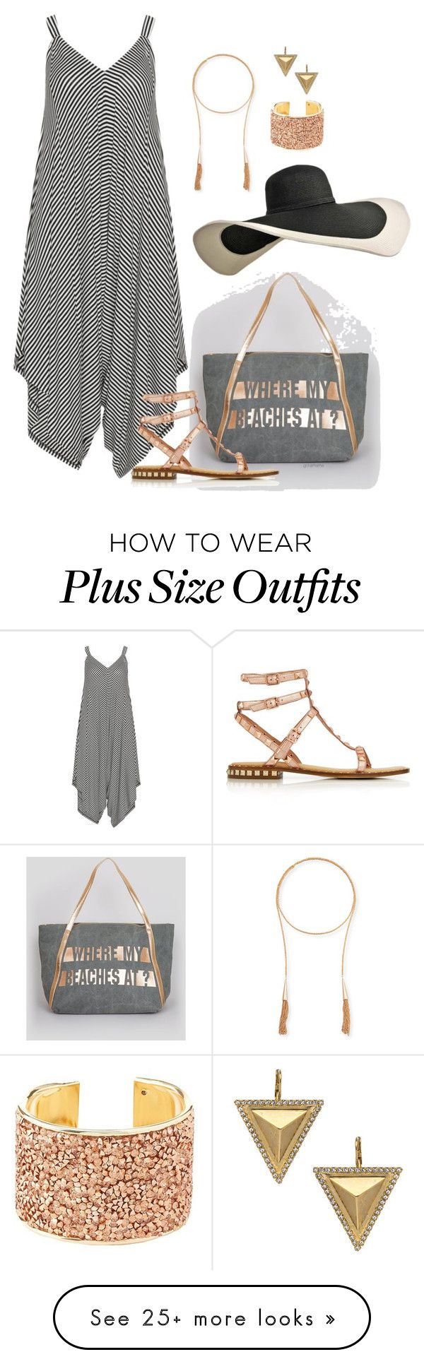 """""""Where my beaches at?- plus size"""" by gchamama on Polyvore featuring New Look, Mat, Ash, Kendra Scott, Charlotte Russe and Janis Savitt"""