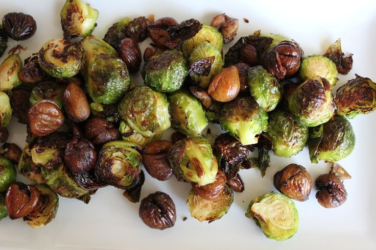 Roasted Brussels Sprouts with Chestnuts (from the Conscious Kitchen)