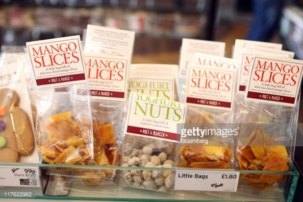Dried fruit and nuts are displayed for saleat a Pret A manger restaurant in London, U.K., on Wednesday, June 29, 2011. Pret A Manger, a closely held U.K. sandwich retailer, said sales last year rose...