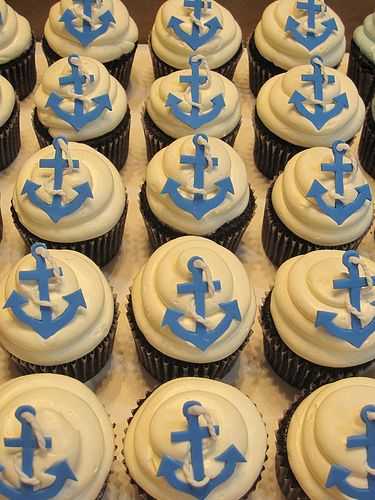 Nautical Cupcakes | Pardon the bad lighting. Anchors cut ind… | Flickr