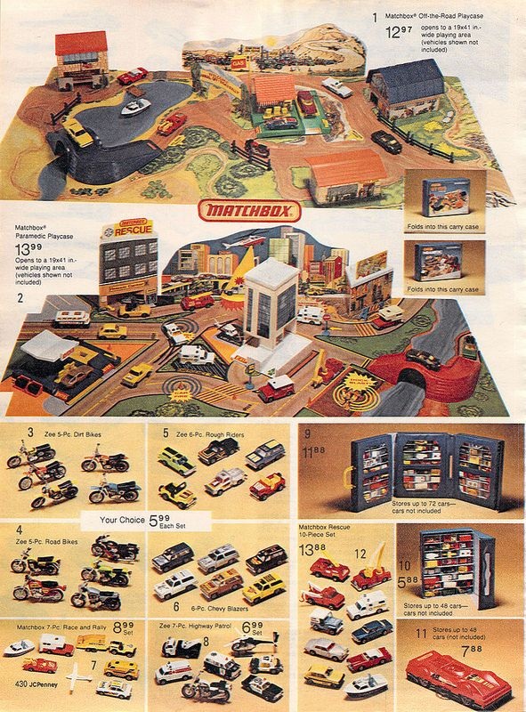 Matchbox Playsets from the J.C. Penney Christmas Catalog, 1980
