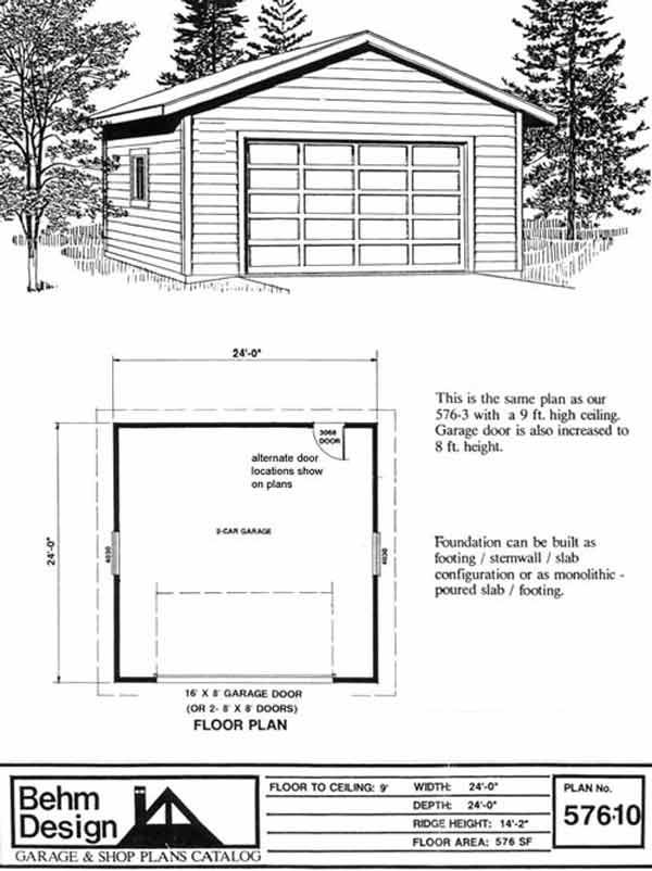 wonderful 10 car garage plans #6: Two Car Garage With 10u0027 High Walls Plan 576-10 24u0027 x 24