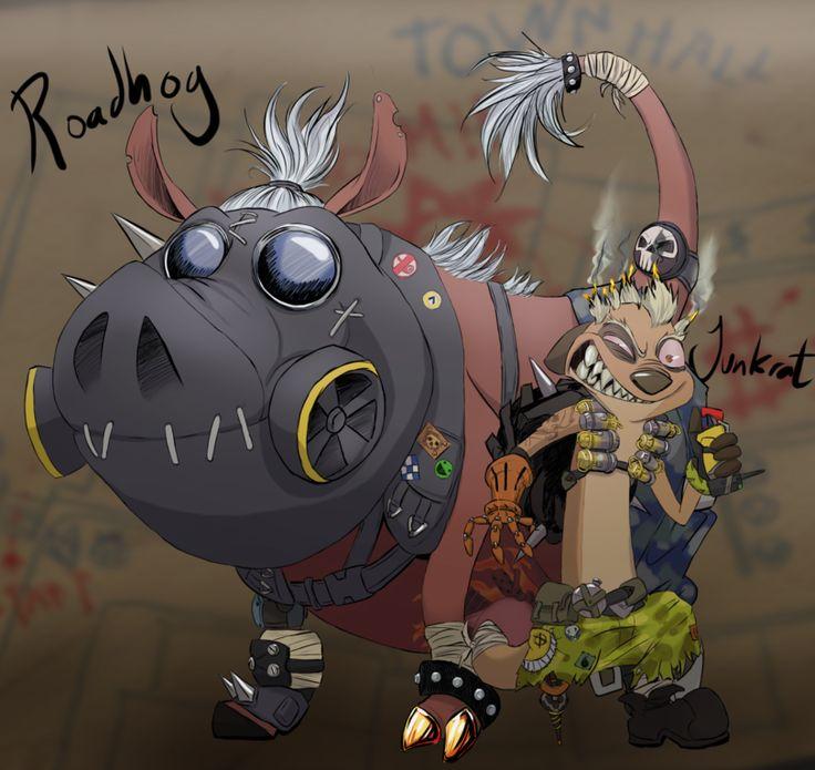 [Overwatch] Junkrat & Roadhog as Timon and Pumbaa <<< . . . Oh . . .