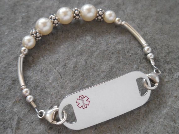 Womans Medical Alert Bracelet Allergy by DesignerMedicalID on Etsy