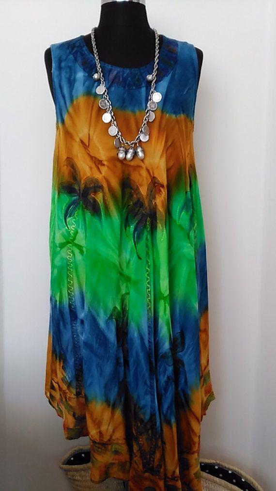 Summer Dress, RETRO Hippie Dress, Ombre Gypsy Bohemian Dress Festival Sleeveless Maternity Tie Dye Dress