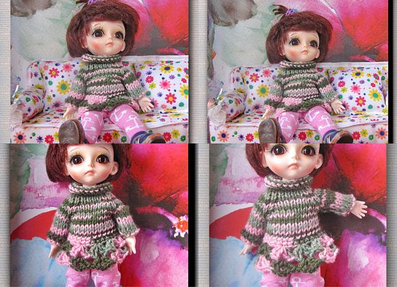 bjd /  1/8 dolls Lati yellow  Hand knit sweater and leggings