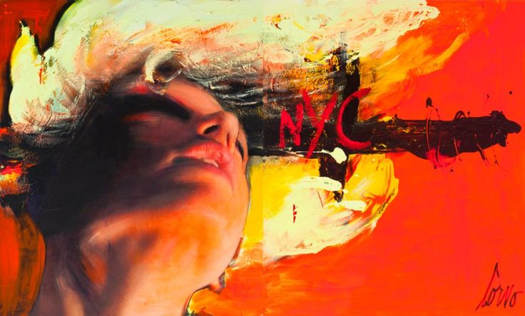 NYC Face on Orange (2012). Woman tilting her head back and looking up to the sky.