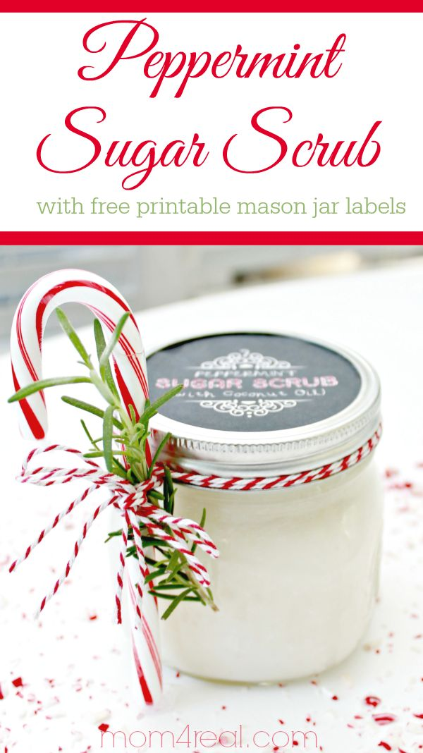 Peppermint Sugar Scrub with Free Printable Labels - Mason Jar Gift Idea