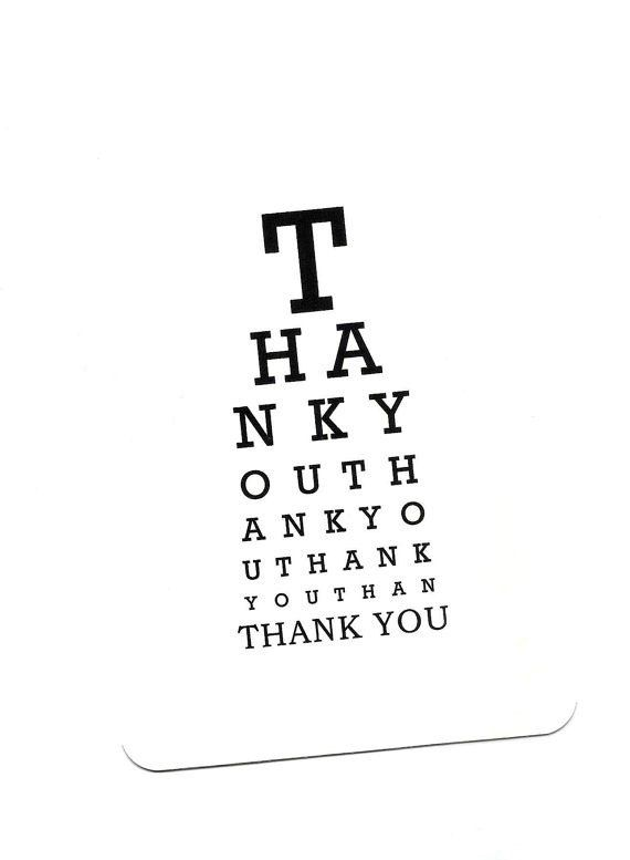 Thank You Blank Eye Chart Card by Yvonne4eyes on Etsy, $4.00