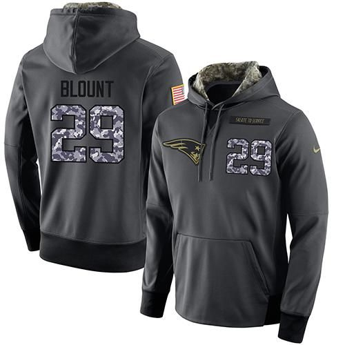 NFL Men's Nike New England Patriots #29 LeGarrette Blount Stitched Black Anthracite Salute to Service Player Performance Hoodie