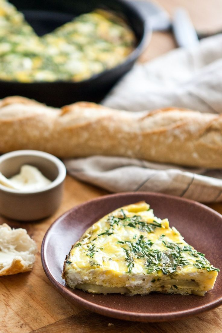 Fresh Herb, Potato, and Goat Cheese Frittata Recipe. This EASY oven baked egg dish makes a great healthy breakfast, lunch, or dinner. Add your favorite vegetable to make it your own! Great warm, cold, or at room temp, so it's perfect to pack your lunch for work.