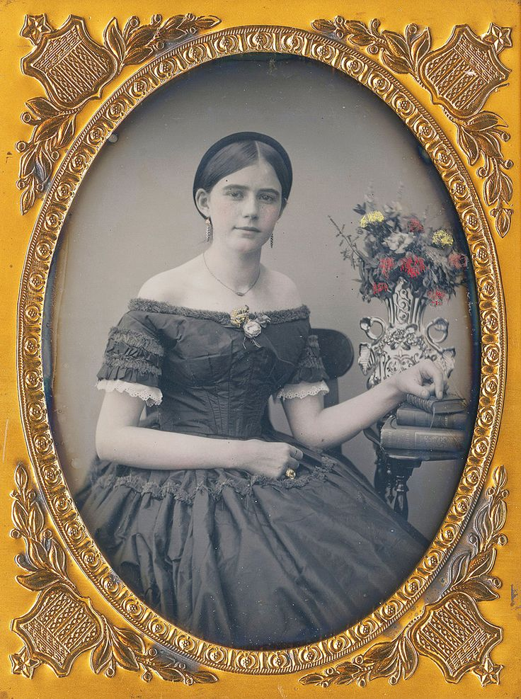 Quarter Plate Daguerreotype, A Tinted Flower of Youthful Beauty, Unknown Maker Circa 1855-1858