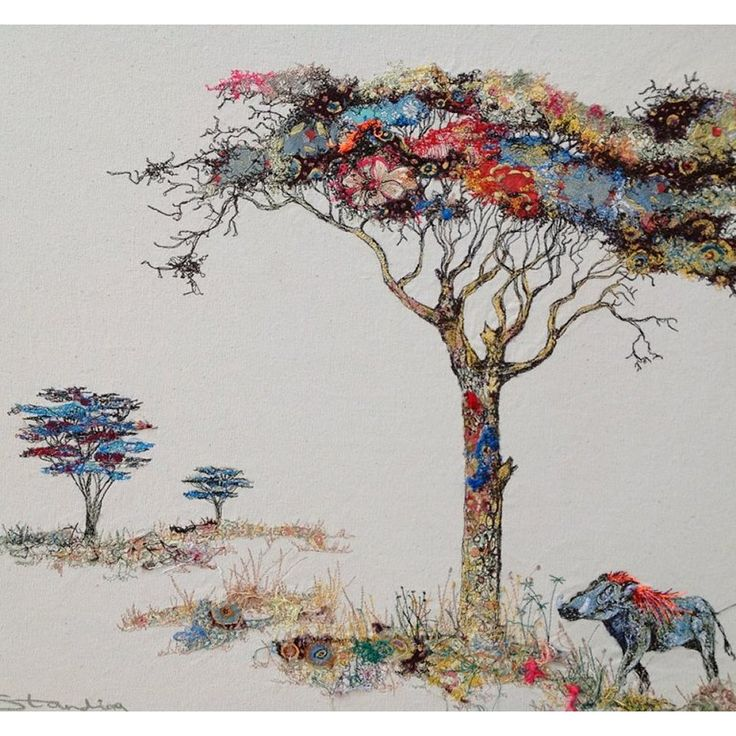 Acacia tree and warthog | Sophie Standing Art | Textile embroidery art from Africa