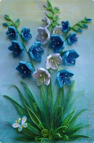Part 1 of 2---Картина панно рисунок День матери День рождения День учителя Квиллинг Колокольчики мои цветики степные  Бумажные полосы фото 2