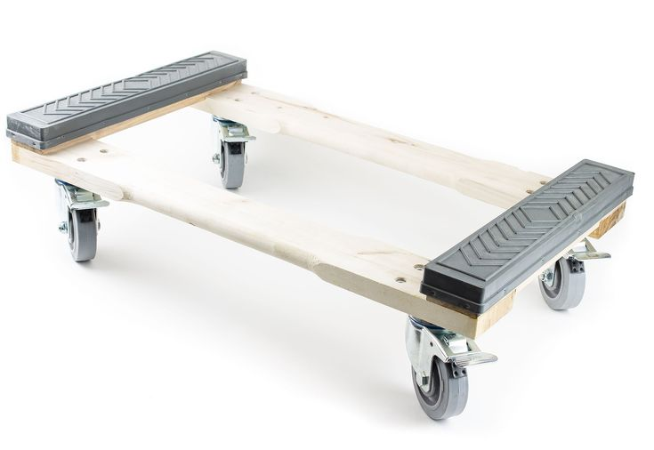 """NK Furniture Movers Dolly, Rubber End Caps, Soft Gray Non-marking TPR Wheels, 30"""" Length x 17"""" Width (4"""" TPR Wheels with Brakes)"""