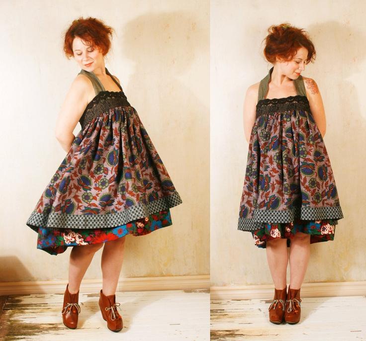 Patchwork  dress Babydoll dress Gypsy bohemian dress Pixie dress Mini dress Russian dress Empire dress Festival dress Gothic dress.  via Etsy.  https://www.etsy.com/listing/105556602/bohemian-gypsy-dress-babydoll-dress  And she is wearing fluevogs!
