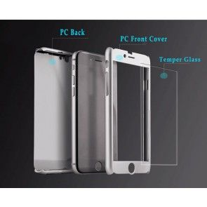 Husa Iphone 7 Plus, Culoare Gri, Plastic + Sticla Temperata, Protectie spate si laterale, Ultraslim
