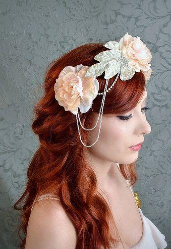 Pink wedding crown, bridal headpiece, floral crown, flapper headband, flower hair accessory