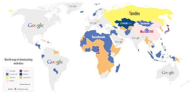 A map of the most popular website in each country.