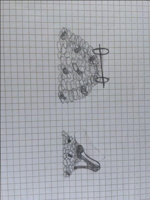 Dit is een schets van mijn eindwerk. Doordat ik de schets pas als laatst op mijn bord zet, zie je heel goed het verschil met mijn uiteindelijke werk.