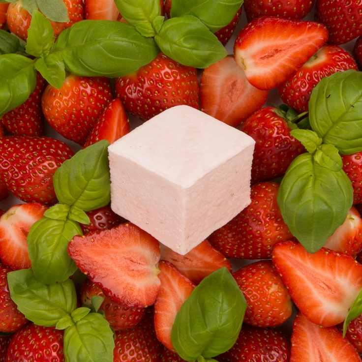 Strawberry & Basil marshmallow       Fresh British Strawberries & a delicate hint of Basil. This sits on the more experimental side of the range- the organic basil provides a bright fresh twist to the whole fruit strawberries.
