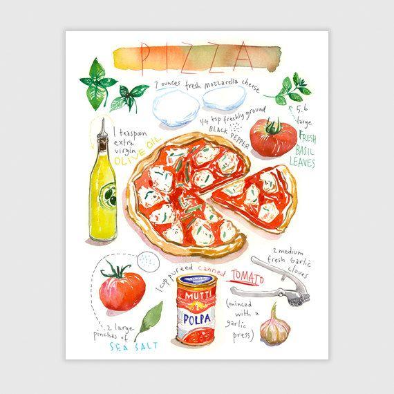 Pizza, Recette illustrée, Aquarelle, décoration cuisine, affiche cuisine, art culinaire, poster cuisine, décor A4, Décor italien, Italie