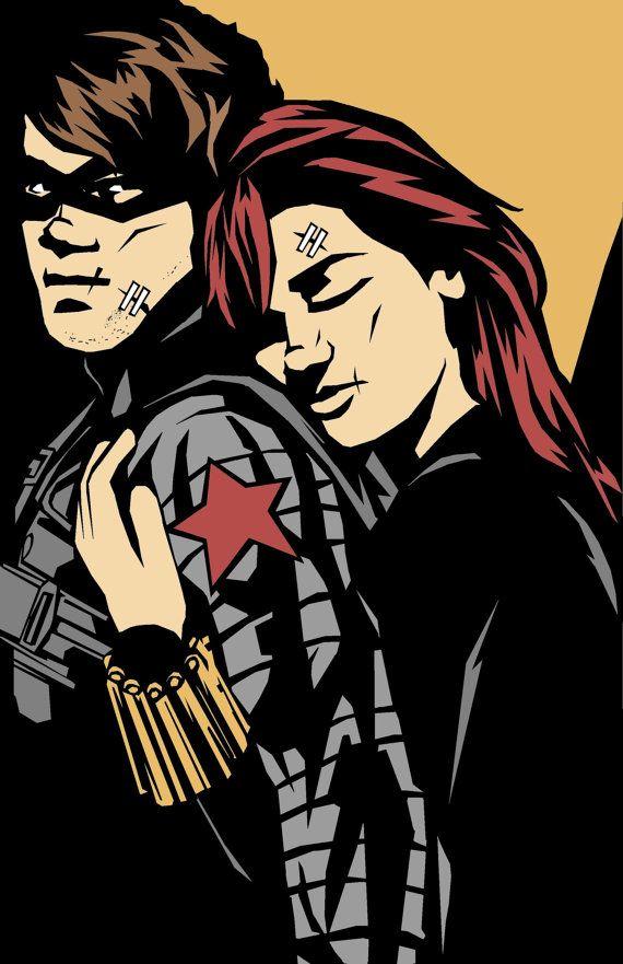 Bucky/Natasha by Barbicane on Etsy #wintersoldier #blackwidow