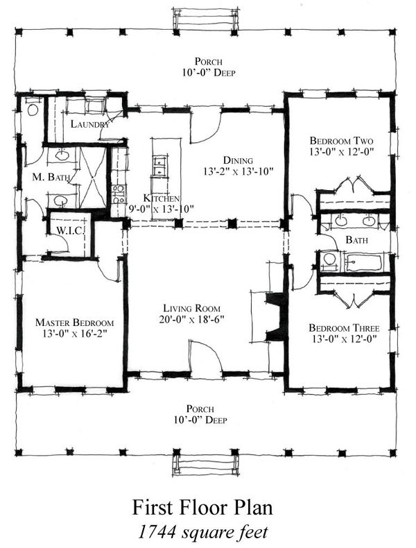 First Floor Plan of Country   Historic   House Plan 73886