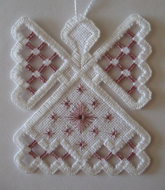 Hardanger Angel Ornament  Pink Amethyst by twistedthreads on Etsy, $11.00