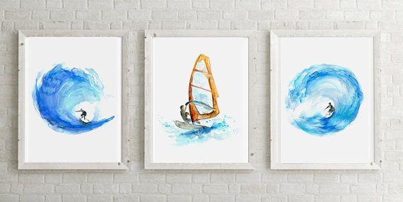 Surf Set  Giclee Prints  Golf schilderijen  van Zendrawing op Etsy