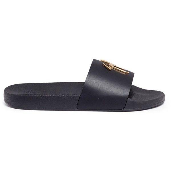 Giuseppe Zanotti Design 'Brett' calfskin leather slide sandals ($370) ❤ liked on Polyvore featuring men's fashion, men's shoes, men's sandals, black, mens black sandals, calfskin mens shoes, mens black shoes and giuseppe zanotti mens shoes