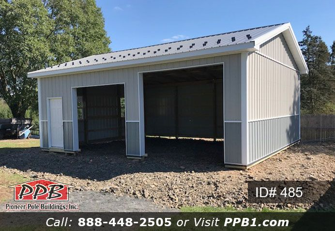 A Compact 2 Car Garage 24 W X 30 L X 10 6 H Id 485 Pole Building Dimensions 24 W X 30 L X 10 6 H Id 485 Pole Buildings Pitch Colour Car Garage
