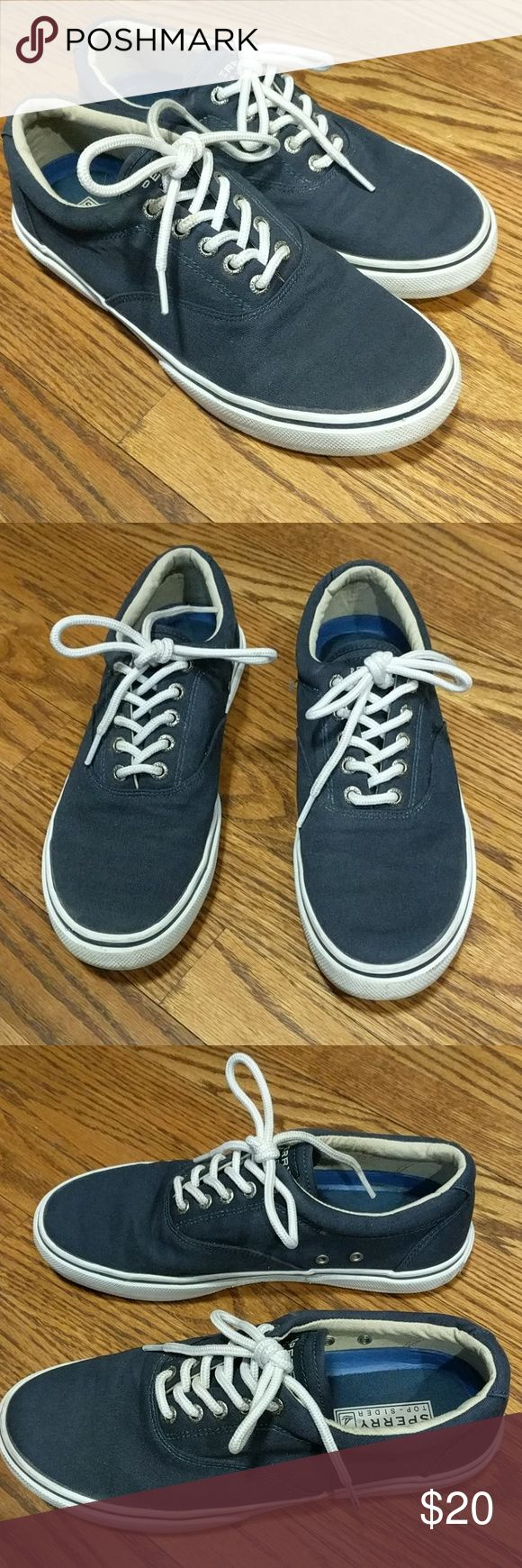 Sperry Top Sider Navy Canvas shoes Sperry Top Sider Men's Navy blue shoes. Can be worn with shorts or jeans.   🌟Smoke free home 🌟No trades 🌟1197 Sperry Top-Sider Shoes Sneakers