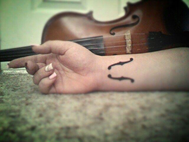 violin sound hole tattoo