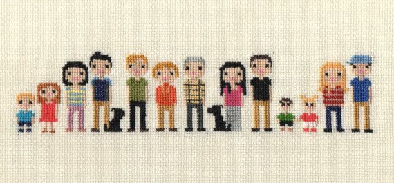 Extra Large Family Custom Pixel Cross Stitch Portrait (Unframed)