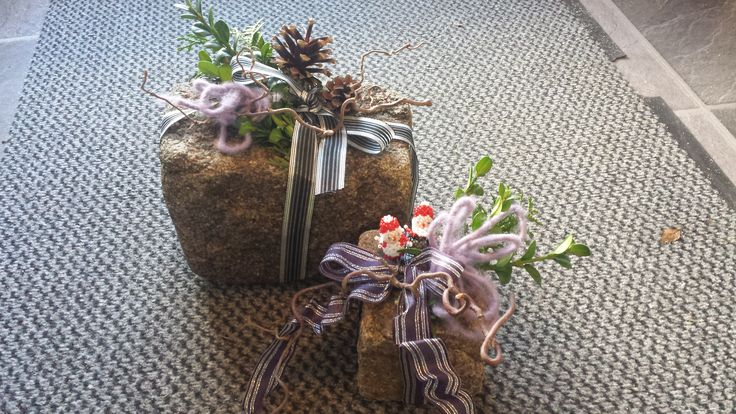 Stones like a gift. To place at front door at christmas