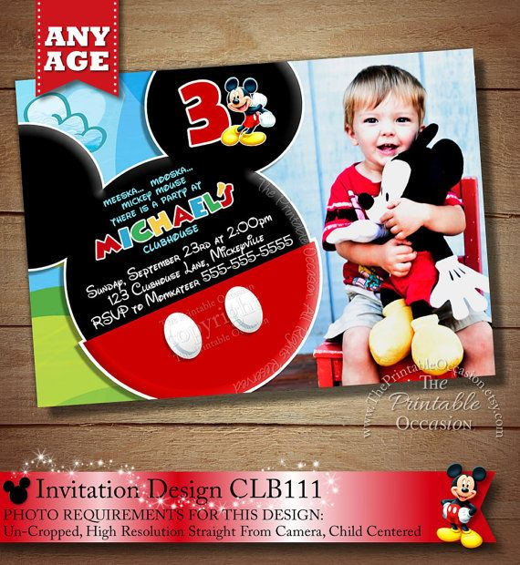 106 best Mickey Mouse Invitations images – Personalized Mickey Mouse Birthday Invitations