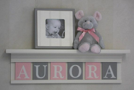 """Name Letters, Name Blocks, PINK GRAY Nursery Decor, Baby Name Signs 24"""" Linen White Shelf Custom 6 Name Plaques - AURORA - Unique Baby Gift on Etsy, $48.00"""