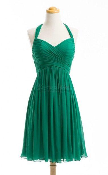 Green Chiffon Short Halter Empire Waist Bridesmaid Dress BDS-CA178